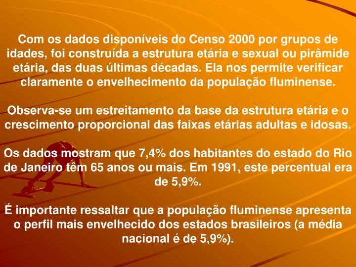 Com os dados disponveis do Censo 2000 por grupos de idades, foi construda a estrutura etria e sexual ou pirmide etria, das duas ltimas dcadas. Ela nos permite verificar claramente o envelhecimento da populao fluminense.