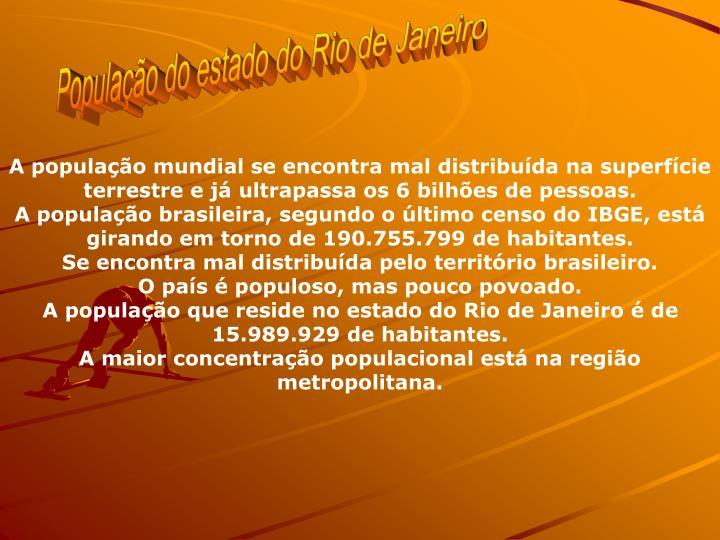 Populao do estado do Rio de Janeiro