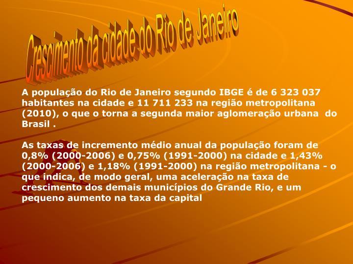 Crescimento da cidade do Rio de Janeiro