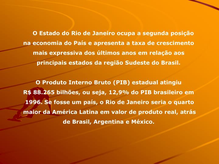 O Estado do Rio de Janeiro ocupa a segunda posio