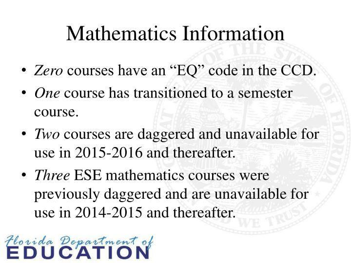 Mathematics Information