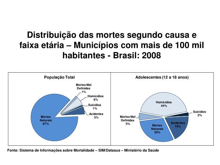 Distribuição das mortes segundo causa e faixa etária – Municípios com mais de 100 mil habitantes - Brasil: 2008