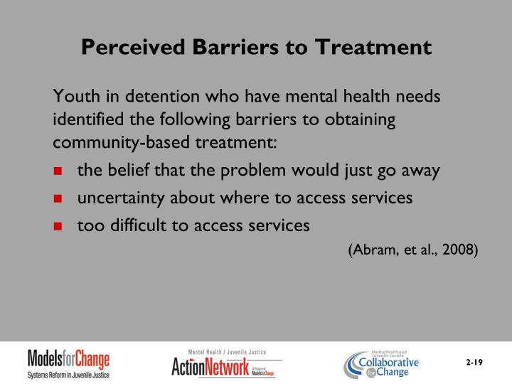 Perceived Barriers to Treatment