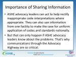 importance of sharing information