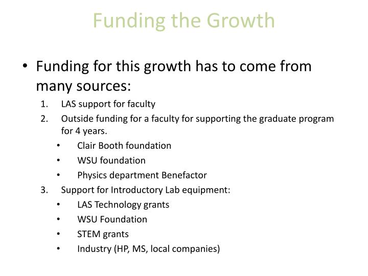 Funding the Growth