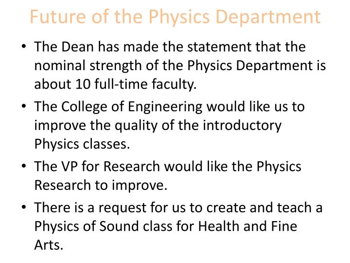 Future of the Physics Department