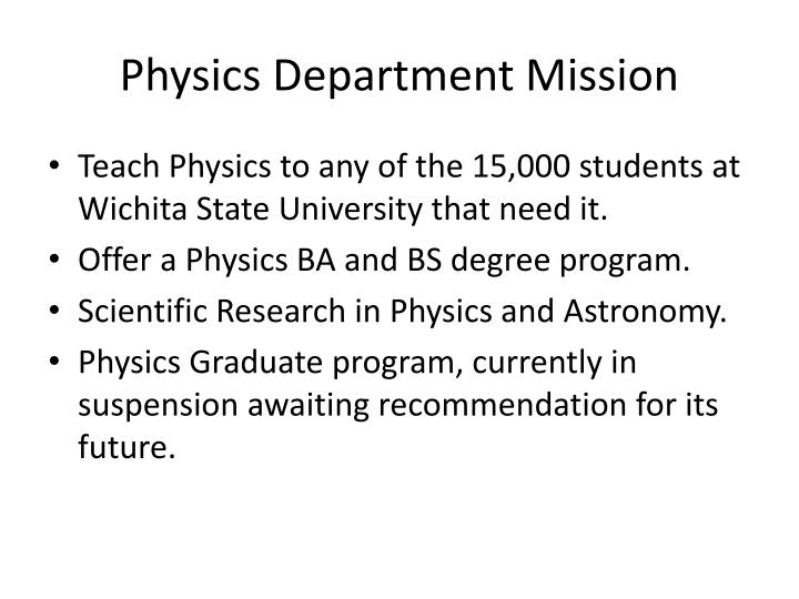 Physics Department Mission