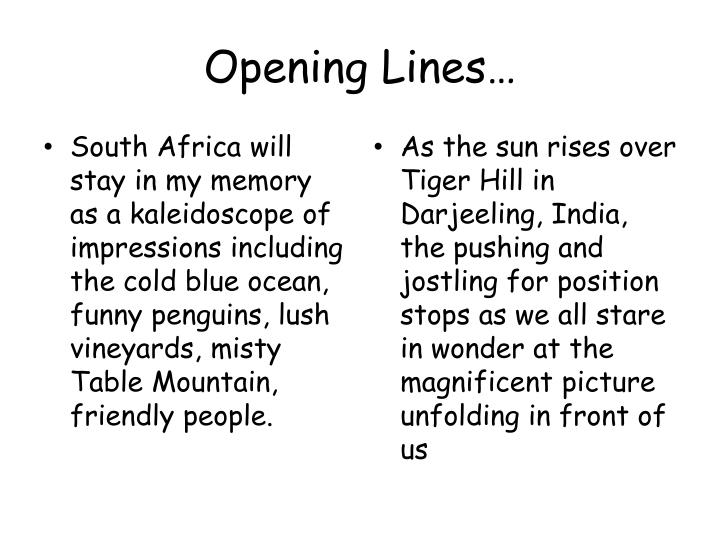 Opening Lines…