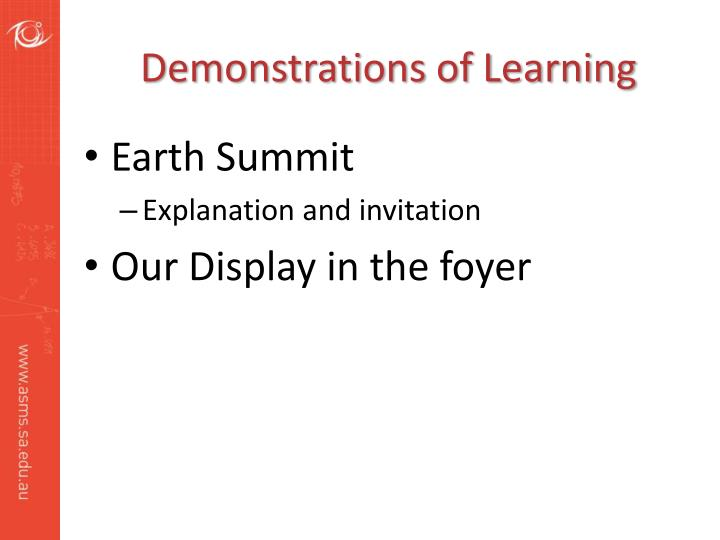 Demonstrations of Learning