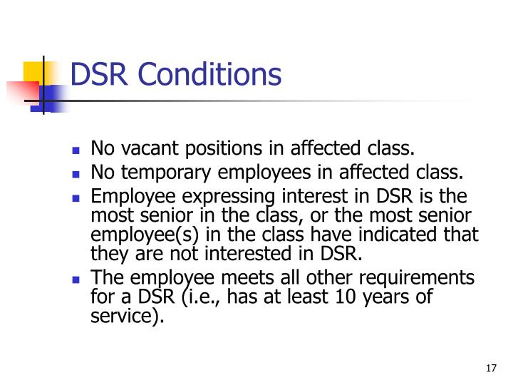 DSR Conditions