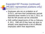 expanded rif process continued mcgeo represented positions only