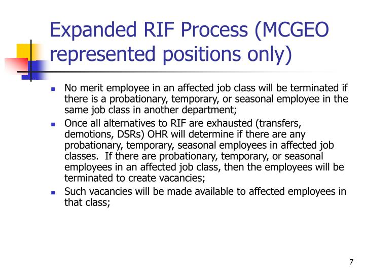 Expanded RIF Process (MCGEO represented positions only)