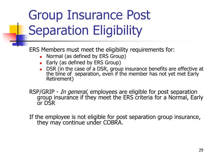 Group Insurance Post Separation Eligibility