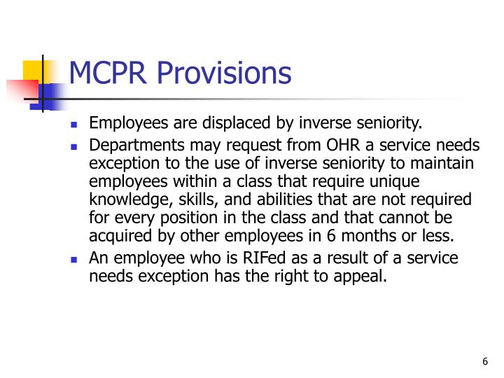 MCPR Provisions