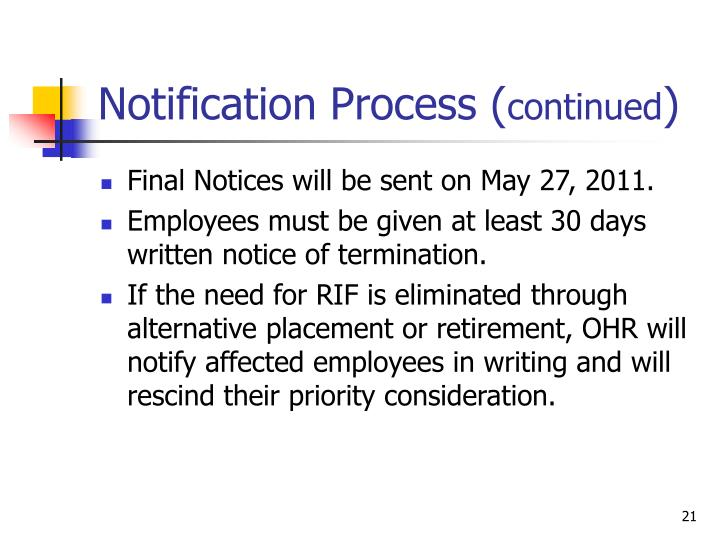 Notification Process (