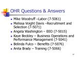 ohr questions answers