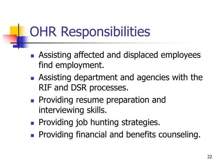 OHR Responsibilities