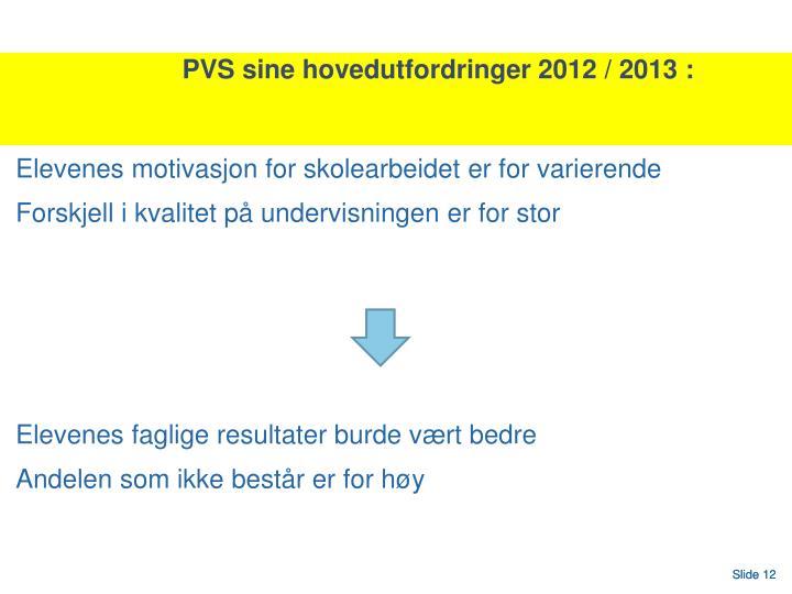 PVS sine hovedutfordringer 2012 / 2013 :