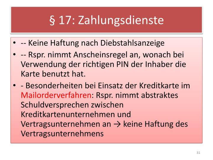 § 17: Zahlungsdienste