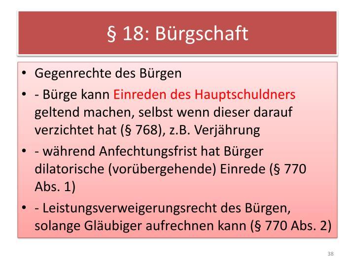 § 18: Bürgschaft