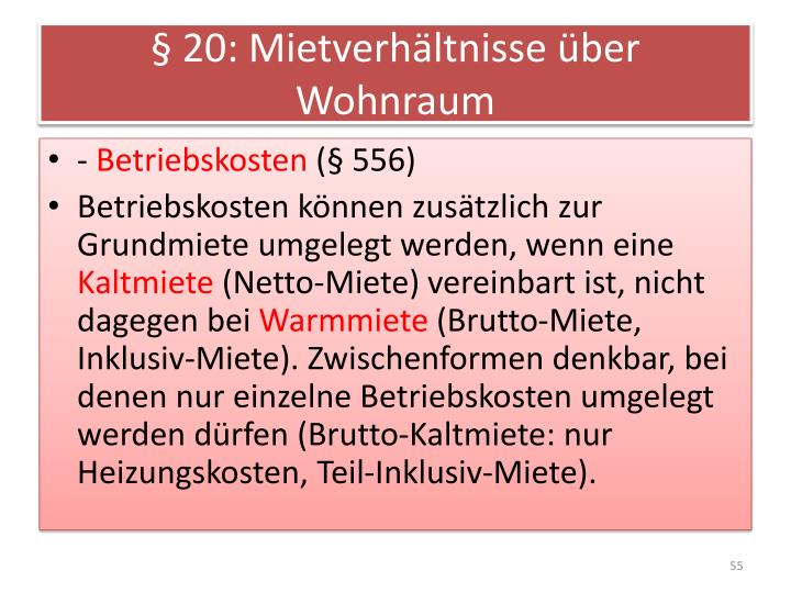§ 20: Mietverhältnisse über Wohnraum