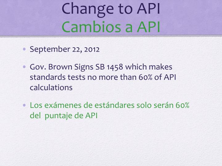 Change to API