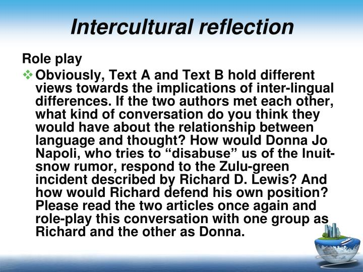 Intercultural reflection
