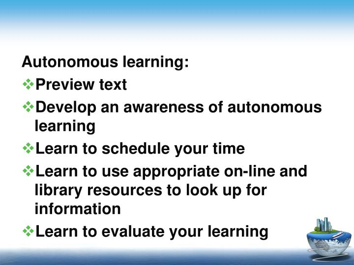 Autonomous learning: