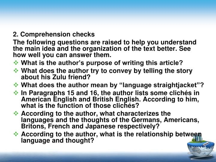 2. Comprehension checks