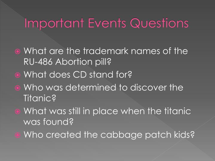 Important Events Questions