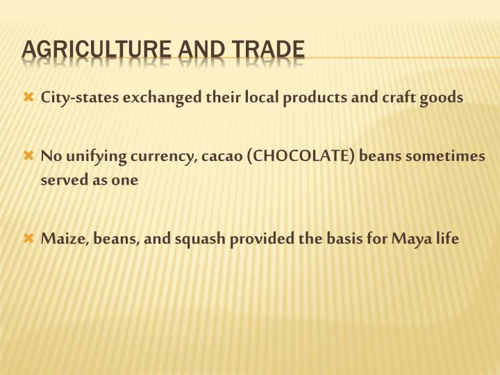 City-states exchanged their local products and craft goods