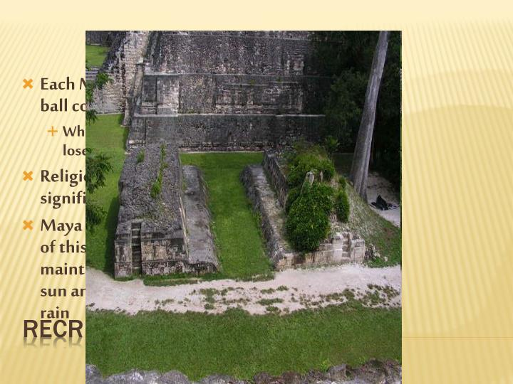 Each Maya city featured a ball court