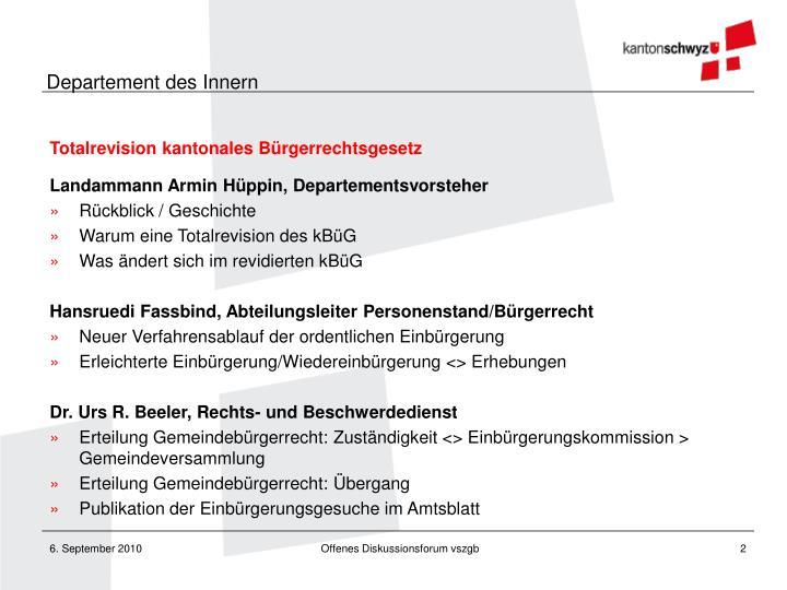 Totalrevision kantonales Bürgerrechtsgesetz