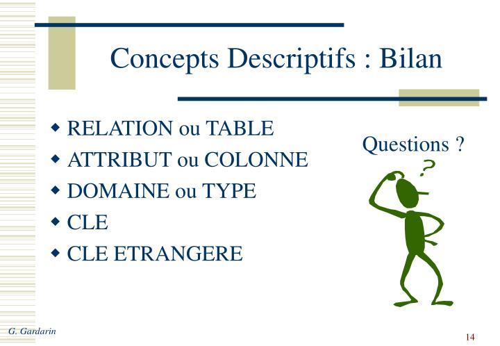 Concepts Descriptifs : Bilan