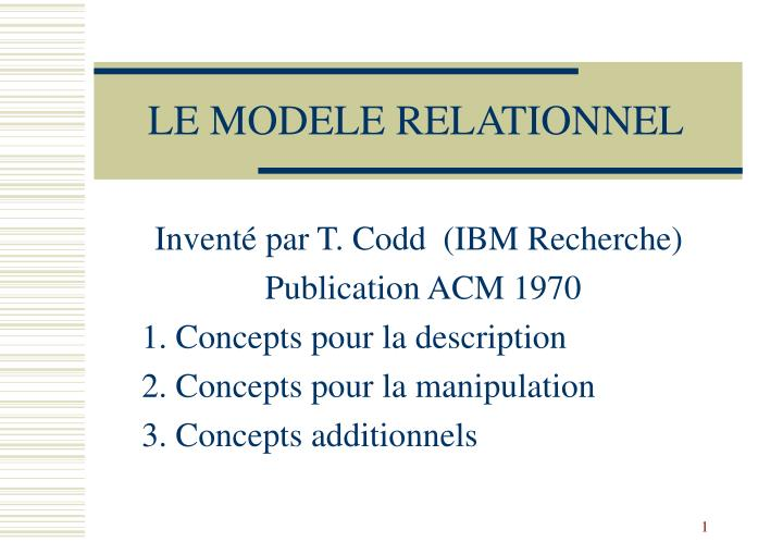 Le modele relationnel