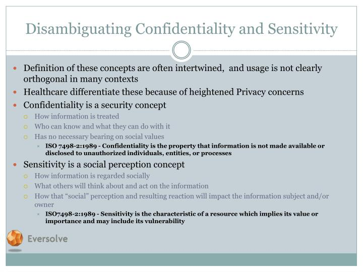 Disambiguating Confidentiality and Sensitivity