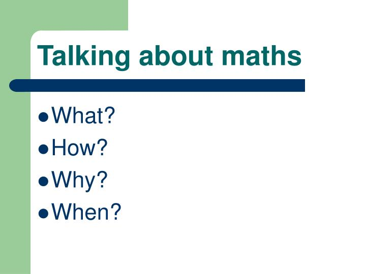 Talking about maths