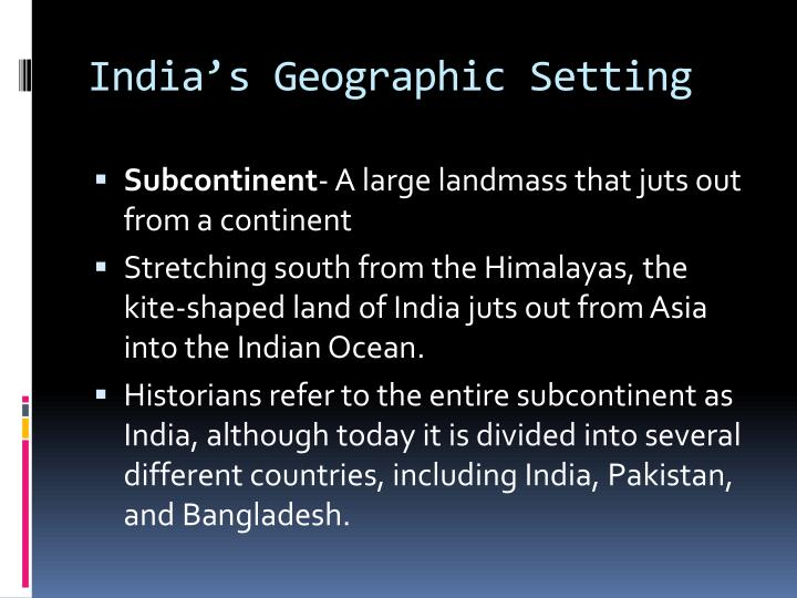 India's Geographic Setting