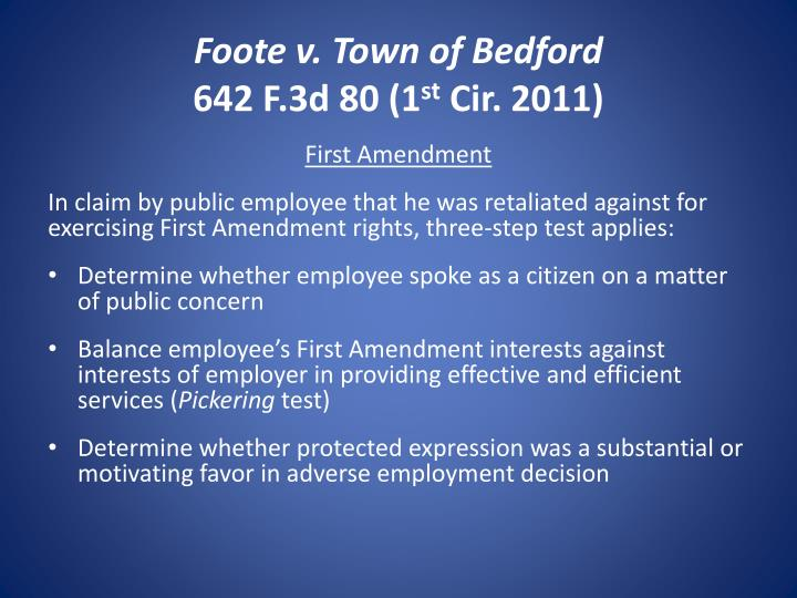 Foote v. Town of Bedford