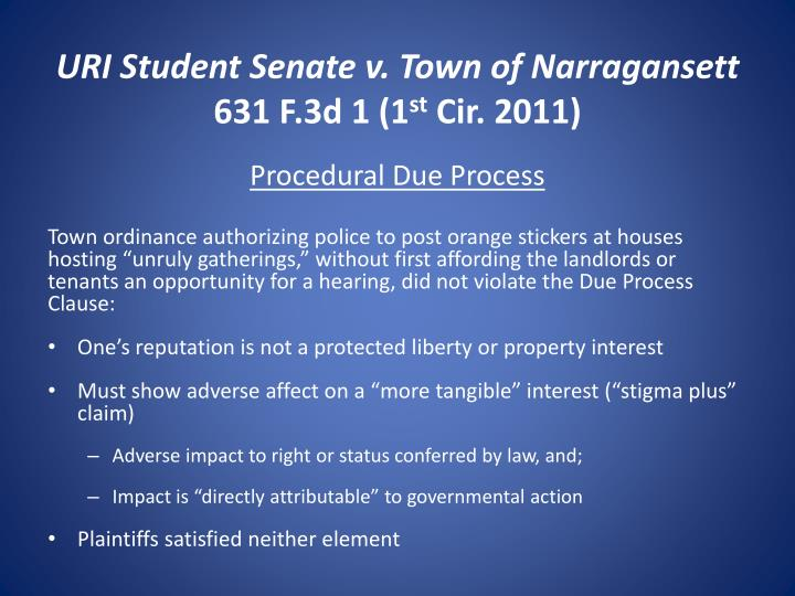 URI Student Senate v. Town of Narragansett