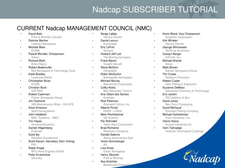 CURRENT Nadcap MANAGEMENT COUNCIL (NMC)
