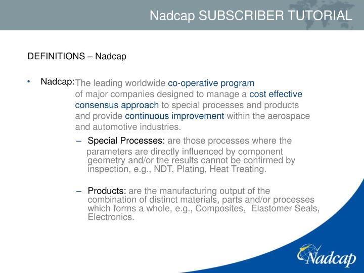 DEFINITIONS – Nadcap