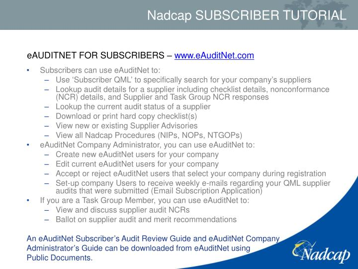 eAUDITNET FOR SUBSCRIBERS –
