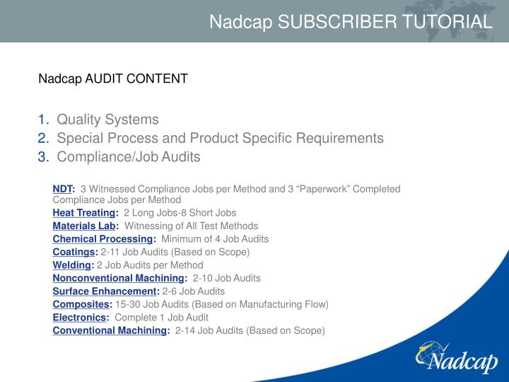 Nadcap AUDIT CONTENT