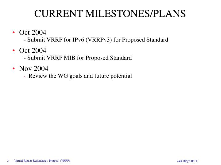 CURRENT MILESTONES/PLANS