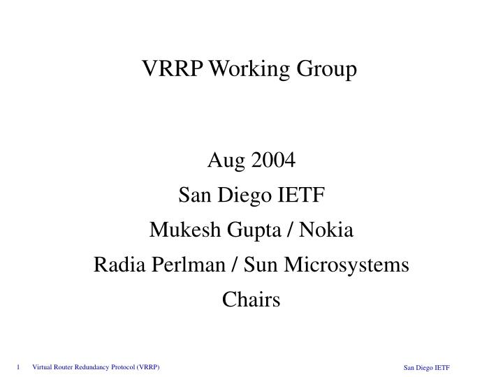 VRRP Working Group