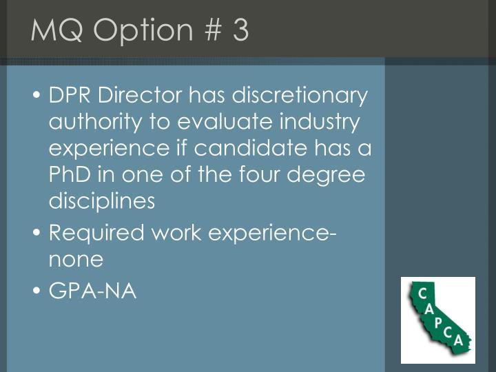 MQ Option # 3