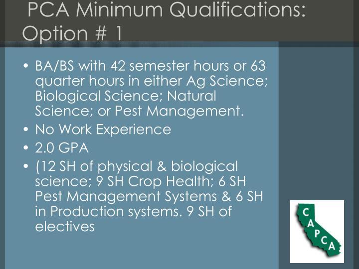 PCA Minimum Qualifications: Option # 1
