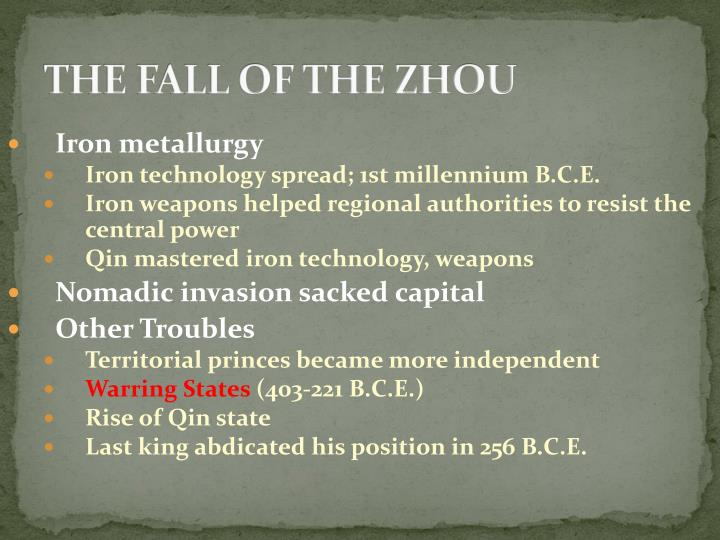 THE FALL OF THE ZHOU