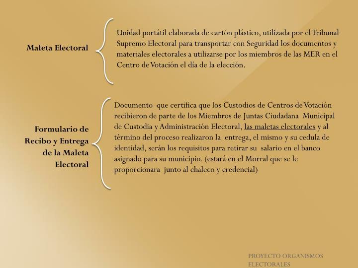 Unidad portátil elaborada de cartón plástico, utilizada por el Tribunal Supremo Electoral para transportar con Seguridad los documentos y materiales electorales a utilizarse por los miembros de las MER en el Centro de Votación el día de la elección.